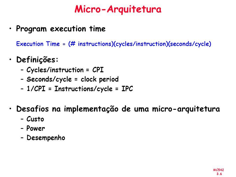 MC542 3.7 Micro-Arquitetura Processador MIPS (Microprocessor without Interlolocked Pipeline Stages) –Vamos implementar um sub conjunto das instruções MIPS: –R-type instructions: and, or, add, sub, slt –Memory instructions: lw, sw –Branch instructions: beq