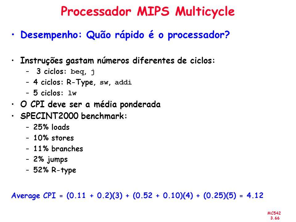 MC542 3.66 Processador MIPS Multicycle Desempenho: Quão rápido é o processador? Instruções gastam números diferentes de ciclos: – 3 ciclos: beq, j –4