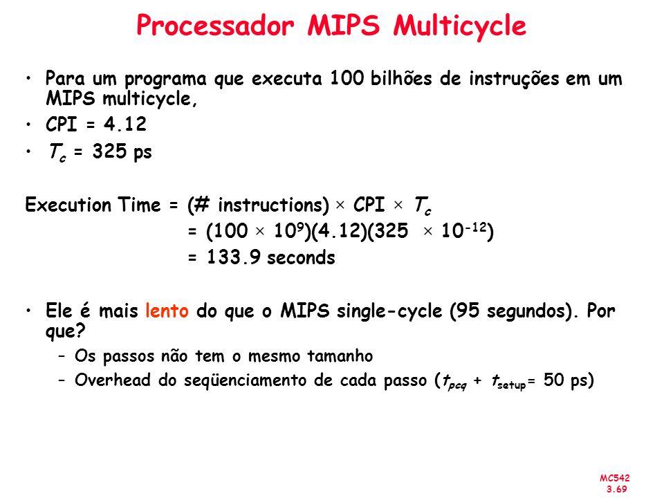 MC542 3.69 Processador MIPS Multicycle Para um programa que executa 100 bilhões de instruções em um MIPS multicycle, CPI = 4.12 T c = 325 ps Execution