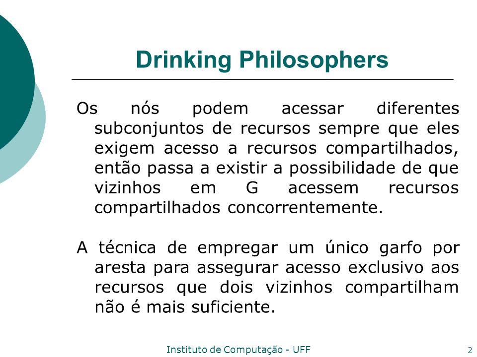 Instituto de Computação - UFF 2 Drinking Philosophers Os nós podem acessar diferentes subconjuntos de recursos sempre que eles exigem acesso a recurso