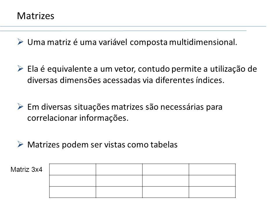 Matrizes Uma matriz é uma variável composta multidimensional. Ela é equivalente a um vetor, contudo permite a utilização de diversas dimensões acessad