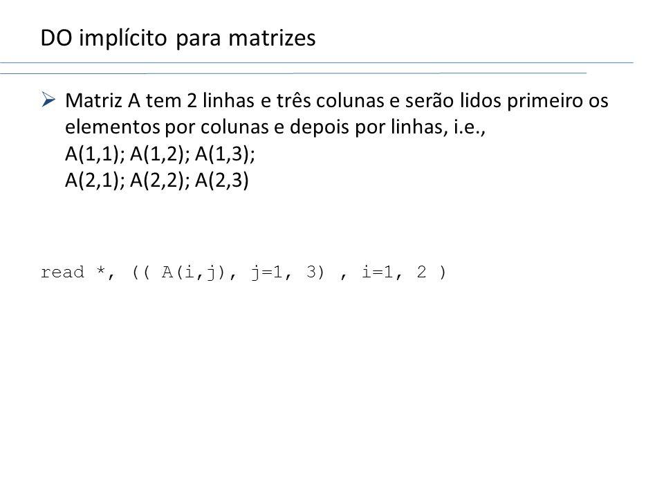 DO implícito para matrizes Matriz A tem 2 linhas e três colunas e serão lidos primeiro os elementos por colunas e depois por linhas, i.e., A(1,1); A(1