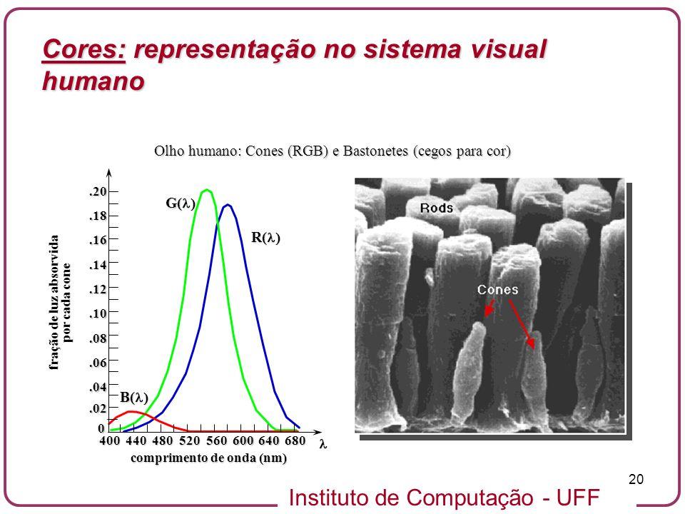Instituto de Computação - UFF 20 Olho humano: Cones (RGB) e Bastonetes (cegos para cor).02 0.04.06.08.10.12.14.16.18.20 400440480520560600640680 fraçã