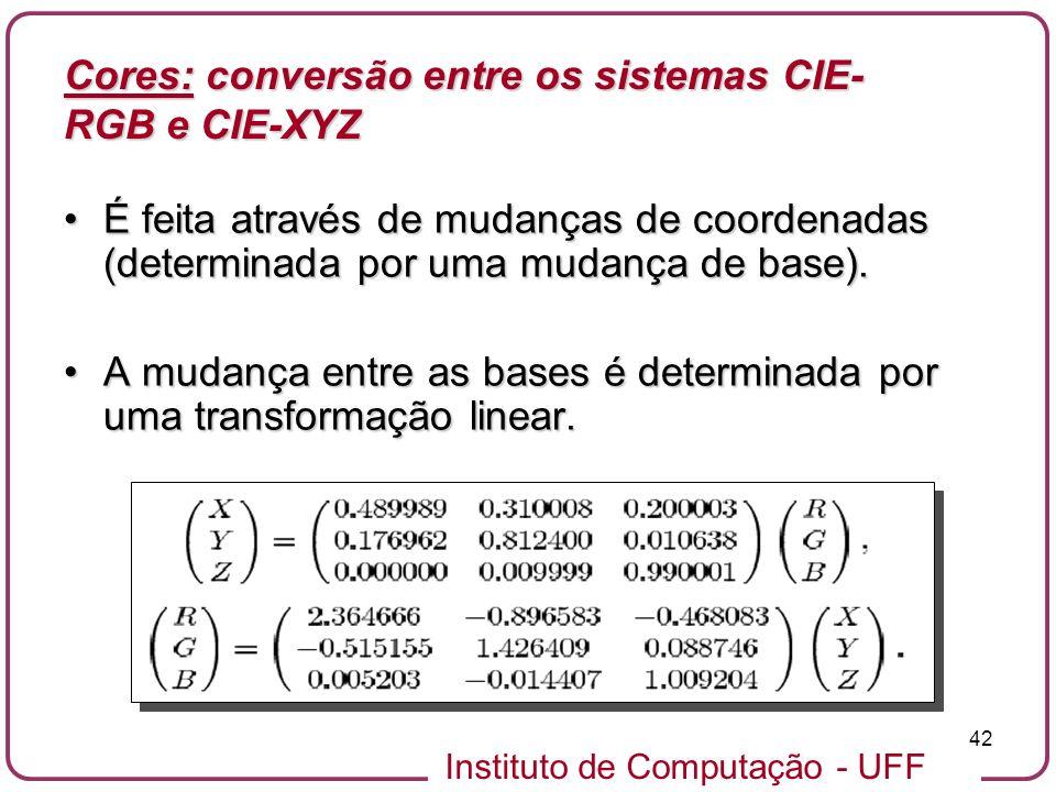 Instituto de Computação - UFF 42 É feita através de mudanças de coordenadas (determinada por uma mudança de base).É feita através de mudanças de coord