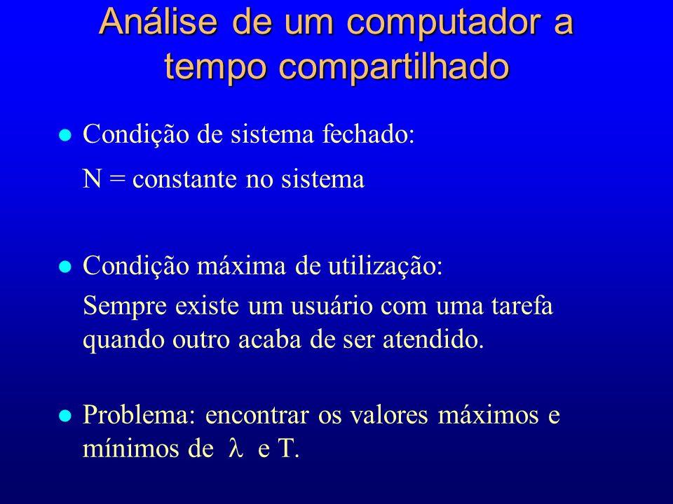 l Condição de sistema fechado: N = constante no sistema l Condição máxima de utilização: Sempre existe um usuário com uma tarefa quando outro acaba de ser atendido.