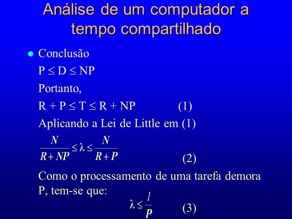 l Conclusão P D NP Portanto, R + P T R + NP (1) Aplicando a Lei de Little em (1) (2) Como o processamento de uma tarefa demora P, tem-se que: (3) Análise de um computador a tempo compartilhado