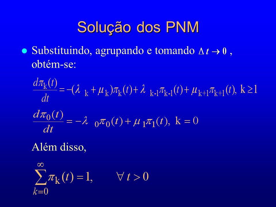 Solução dos PNM l Substituindo, agrupando e tomando, obtém-se: Além disso,