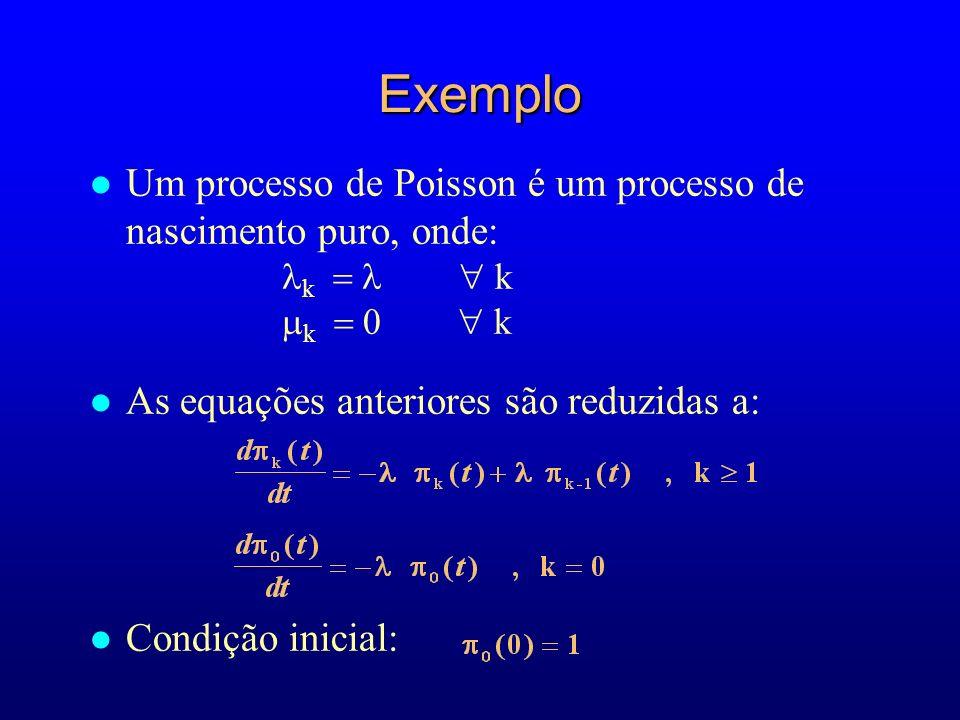 l Um processo de Poisson é um processo de nascimento puro, onde: k k l As equações anteriores são reduzidas a: l Condição inicial: Exemplo