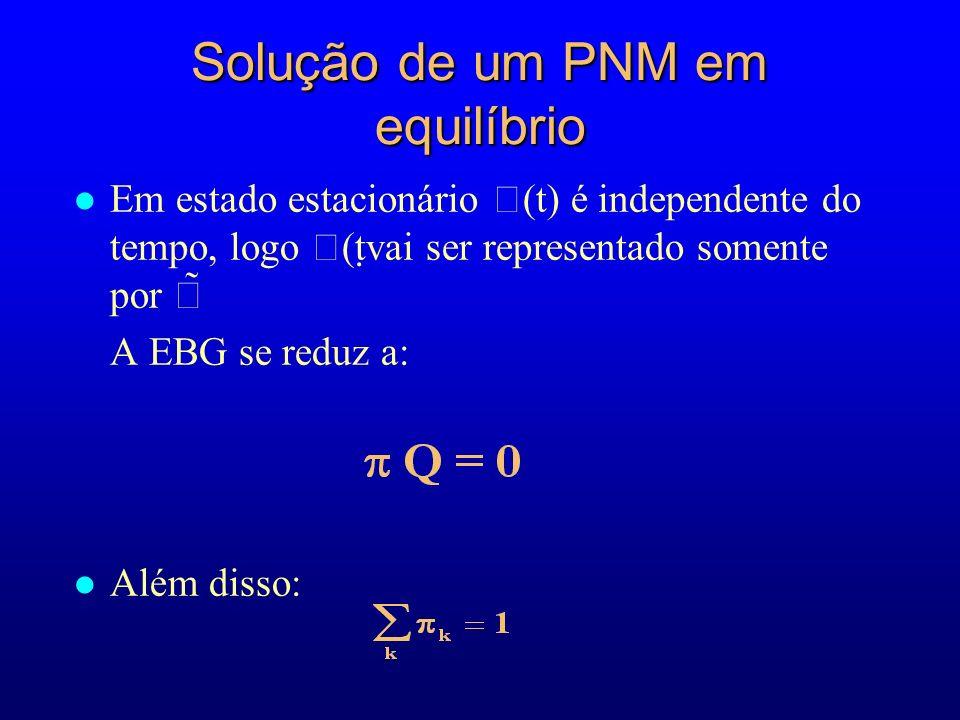 Solução de um PNM em equilíbrio l Em estado estacionário (t) é independente do tempo, logo (tvai ser representado somente por A EBG se reduz a: l Além disso: