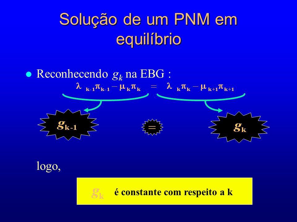 l Reconhecendo g k na EBG : logo, é constante com respeito a k = Solução de um PNM em equilíbrio