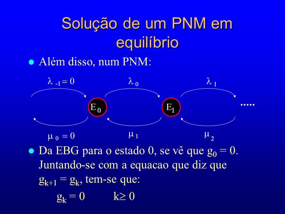 l Além disso, num PNM: l Da EBG para o estado 0, se vê que g 0 = 0.