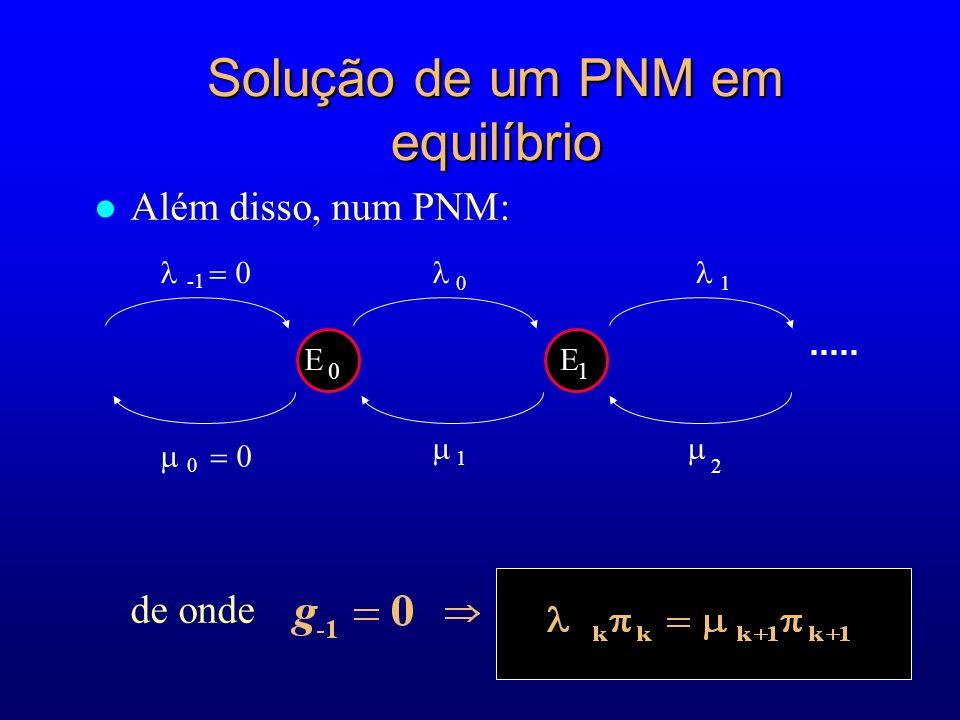 l Além disso, num PNM: de onde 2 E 0 E 1 1 01 0 Solução de um PNM em equilíbrio