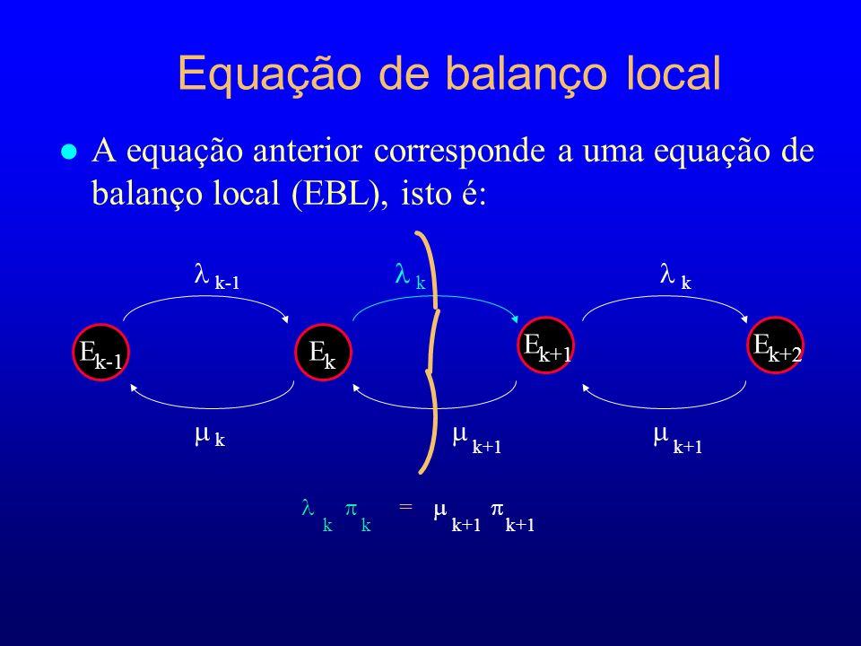 l A equação anterior corresponde a uma equação de balanço local (EBL), isto é: Equação de balanço local E k+2 k+1 E k-1 E k E k+1 k k-1k k+1 k = k k+1 k+1