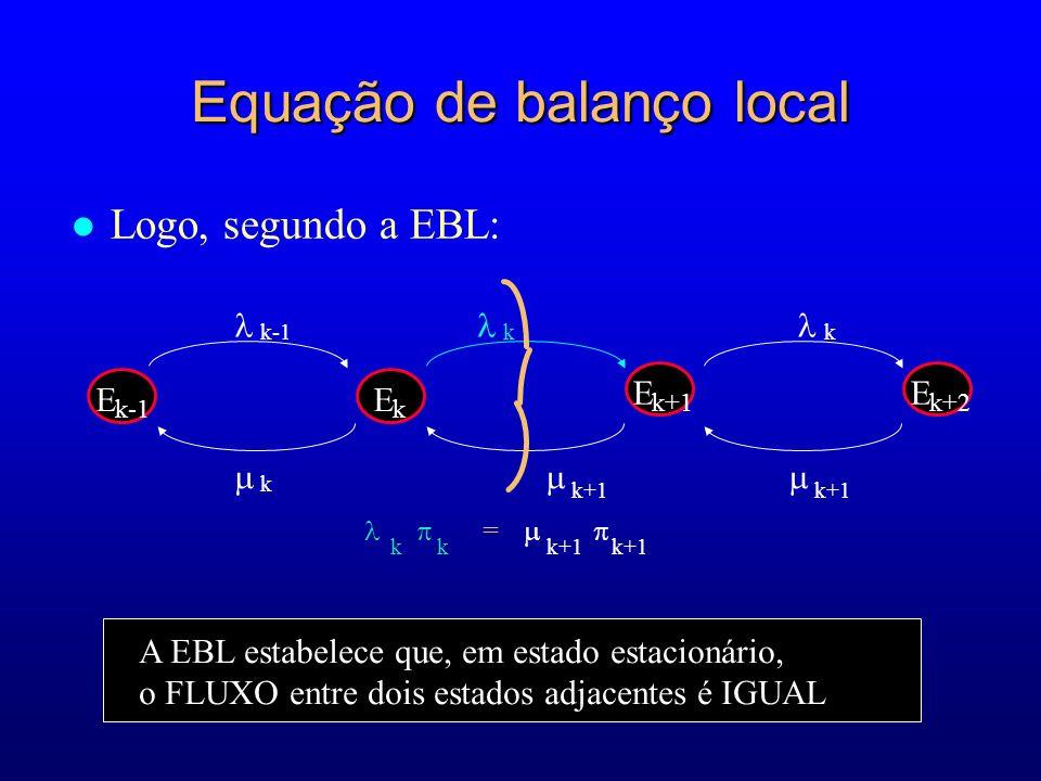 l Logo, segundo a EBL: E k+2 k+1 E k-1 E k E k+1 k k-1k k+1 k = k k+1 k+1 A EBL estabelece que, em estado estacionário, o FLUXO entre dois estados adjacentes é IGUAL Equação de balanço local