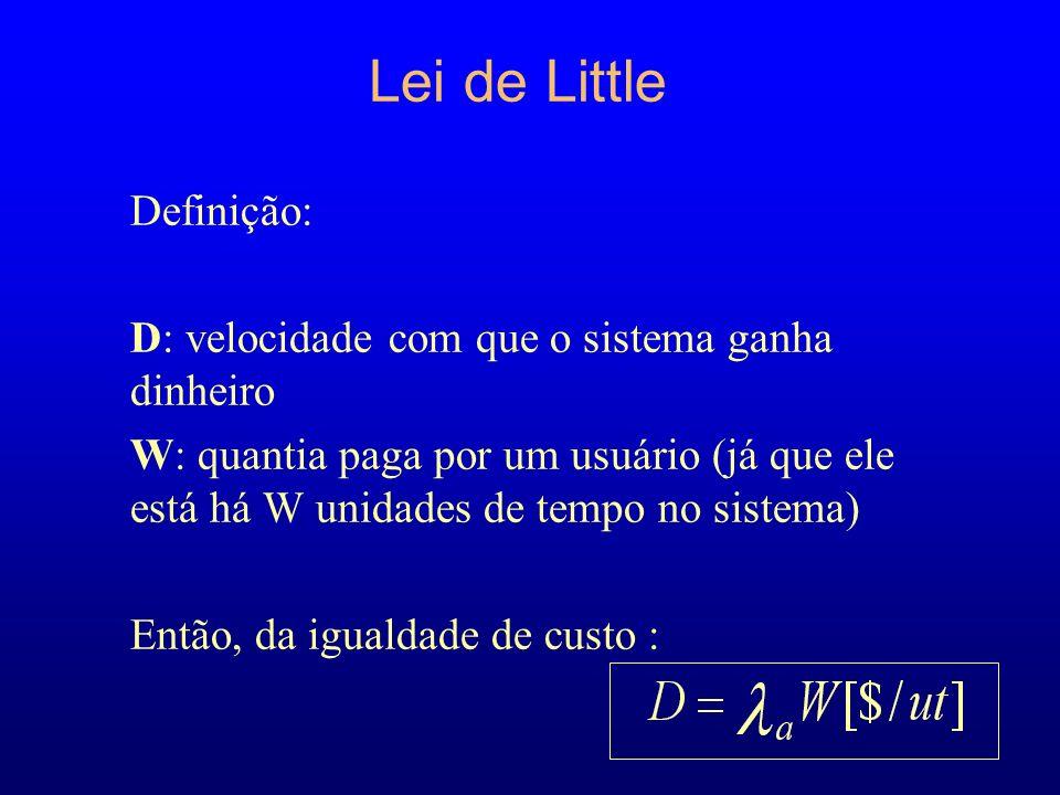 Lei de Little Definição: D: velocidade com que o sistema ganha dinheiro W: quantia paga por um usuário (já que ele está há W unidades de tempo no sistema) Então, da igualdade de custo :