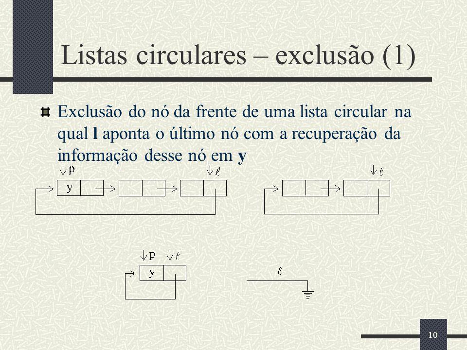 10 Listas circulares – exclusão (1) Exclusão do nó da frente de uma lista circular na qual l aponta o último nó com a recuperação da informação desse