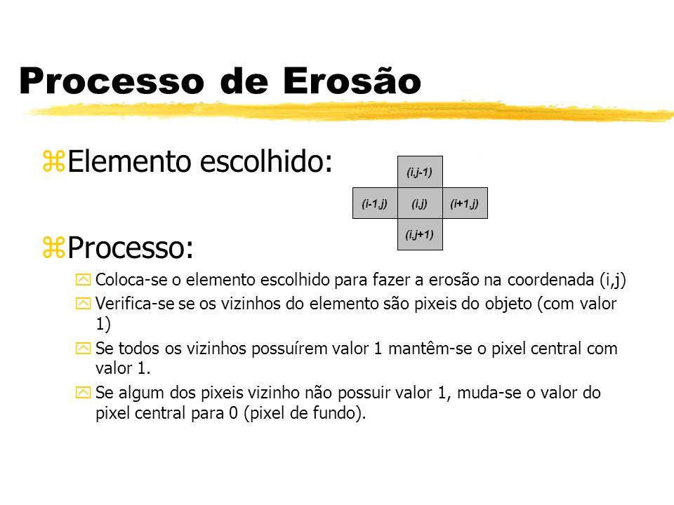 Processo de Erosão zElemento escolhido: zProcesso: yColoca-se o elemento escolhido para fazer a erosão na coordenada (i,j) yVerifica-se se os vizinhos