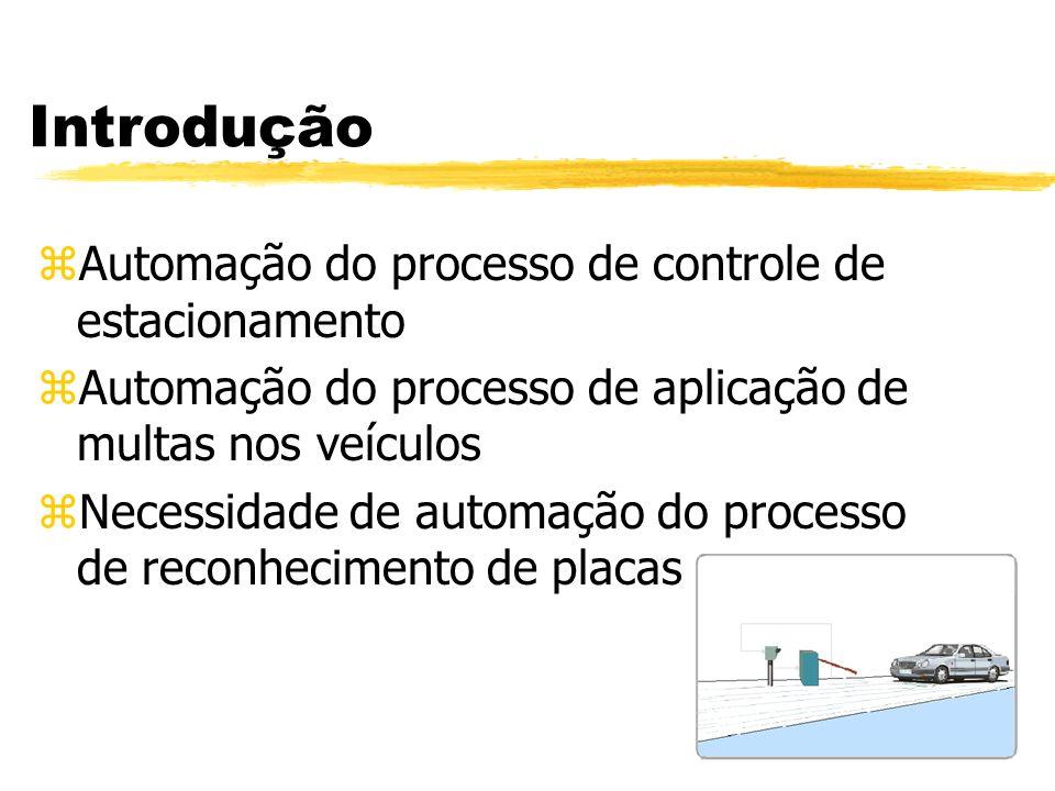 Introdução zAutomação do processo de controle de estacionamento zAutomação do processo de aplicação de multas nos veículos zNecessidade de automação d