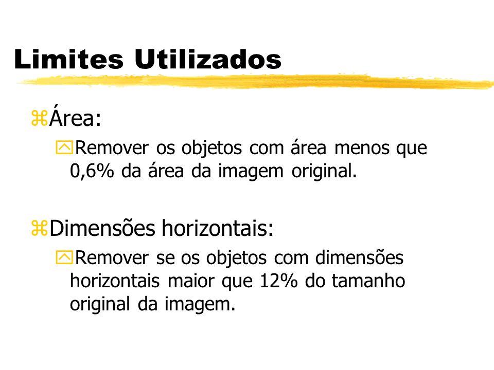 Limites Utilizados zÁrea: yRemover os objetos com área menos que 0,6% da área da imagem original. zDimensões horizontais: yRemover se os objetos com d