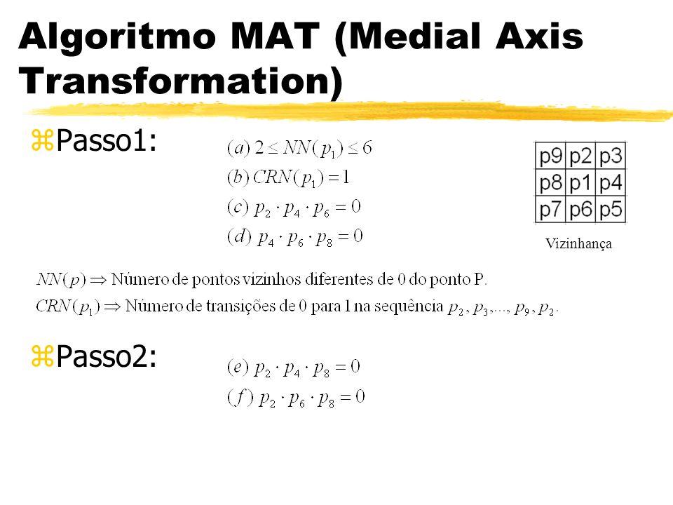 Algoritmo MAT (Medial Axis Transformation) zPasso1: zPasso2: Vizinhança