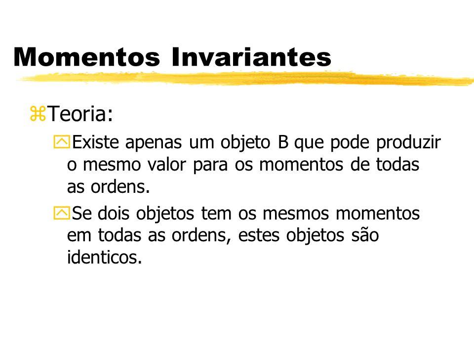 Momentos Invariantes zTeoria: yExiste apenas um objeto B que pode produzir o mesmo valor para os momentos de todas as ordens. ySe dois objetos tem os