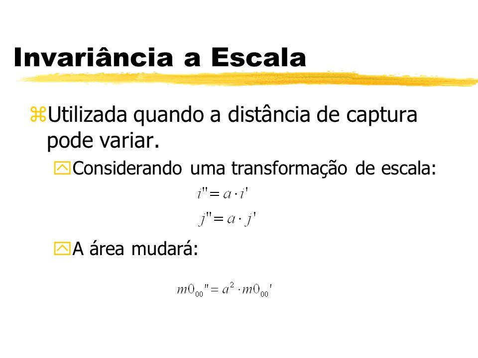 Invariância a Escala zUtilizada quando a distância de captura pode variar. yConsiderando uma transformação de escala: yA área mudará: