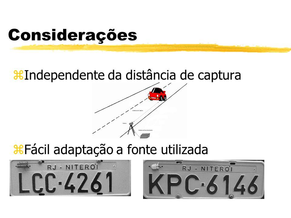 Considerações zIndependente da distância de captura zFácil adaptação a fonte utilizada
