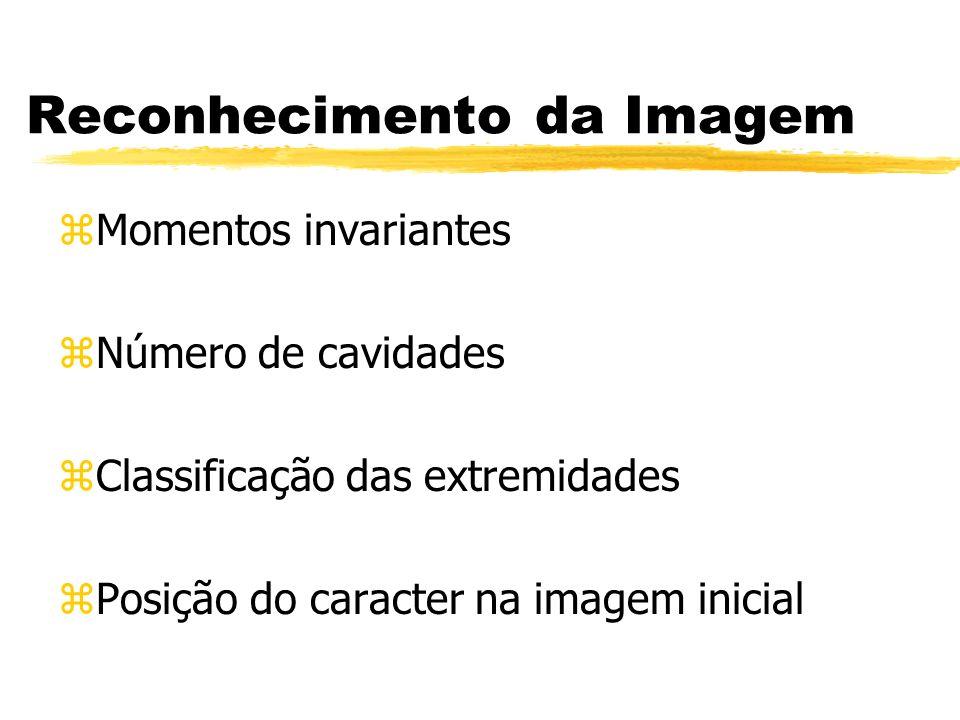 Reconhecimento da Imagem zMomentos invariantes zNúmero de cavidades zClassificação das extremidades zPosição do caracter na imagem inicial