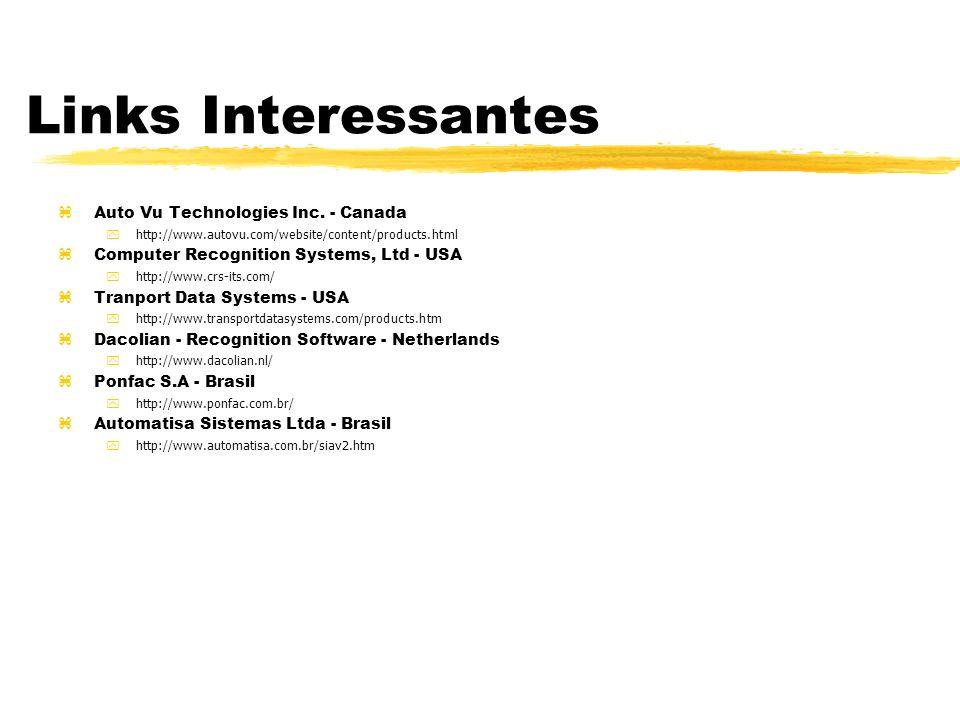 Links Interessantes zAuto Vu Technologies Inc. - Canada yhttp://www.autovu.com/website/content/products.html Computer Recognition Systems, Ltd - USA y