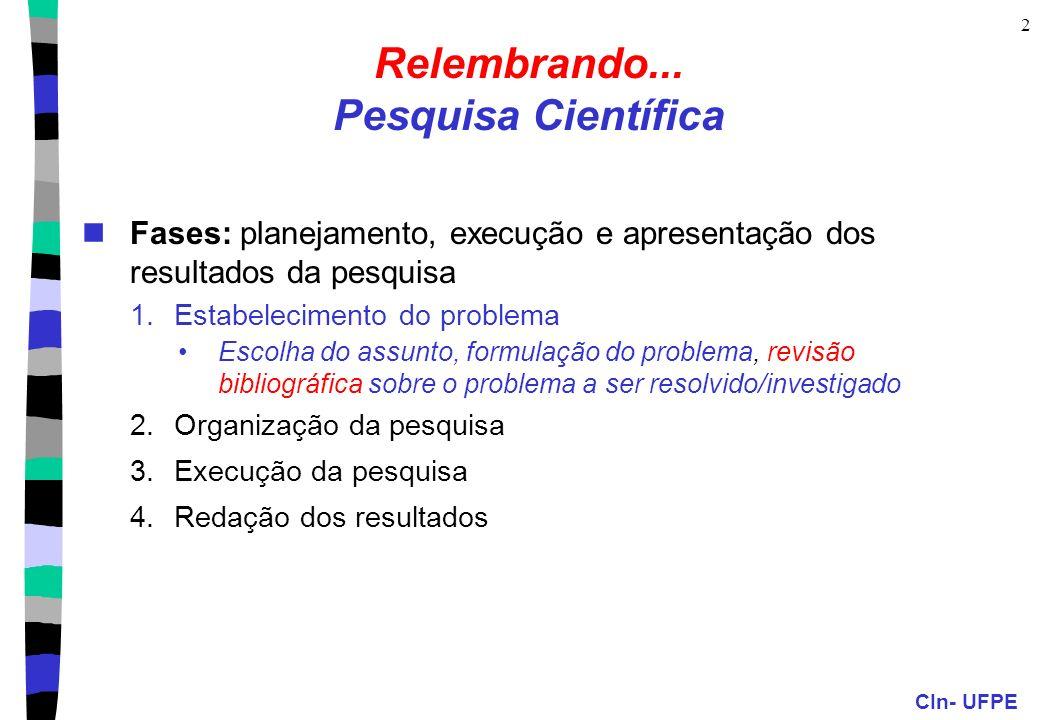 CIn- UFPE 2 Relembrando...