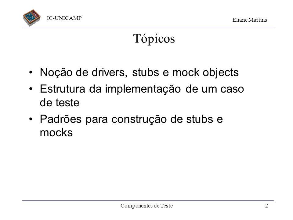 IC-UNICAMP Eliane Martins Componentes de Teste Últ. Atualiz.: set/2010