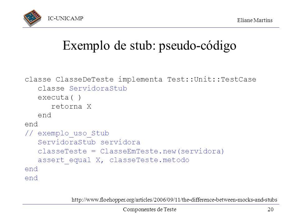 IC-UNICAMP Eliane Martins Componentes de Teste19 Exemplo: classe em teste e uma servidora classe ClasseEmTeste Servidora serv; metodo( ) serv.executa(