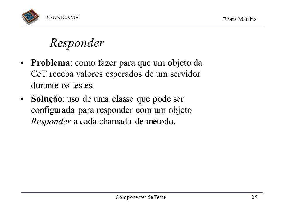 IC-UNICAMP Eliane Martins Componentes de Teste24 Padrões G. Meszaros definiu diversos padrões de projeto para mocks. S.Gorst definiu vários idiomas (p