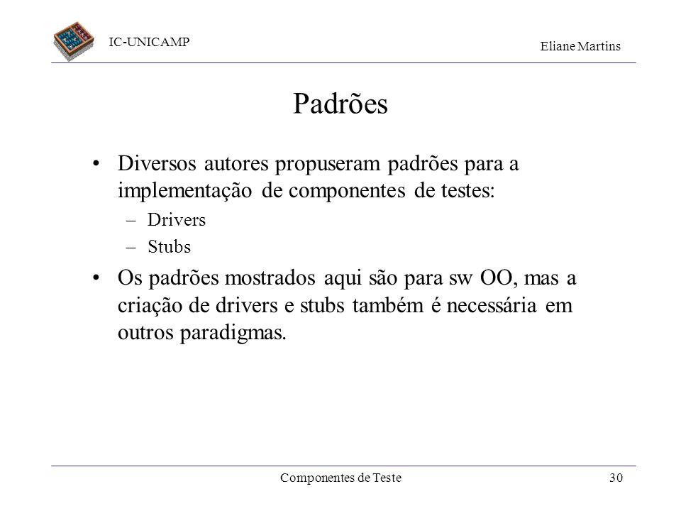 IC-UNICAMP Eliane Martins Componentes de Teste29 Setembro/2001Qualidade_V&V29 Principais pontos aprendidos