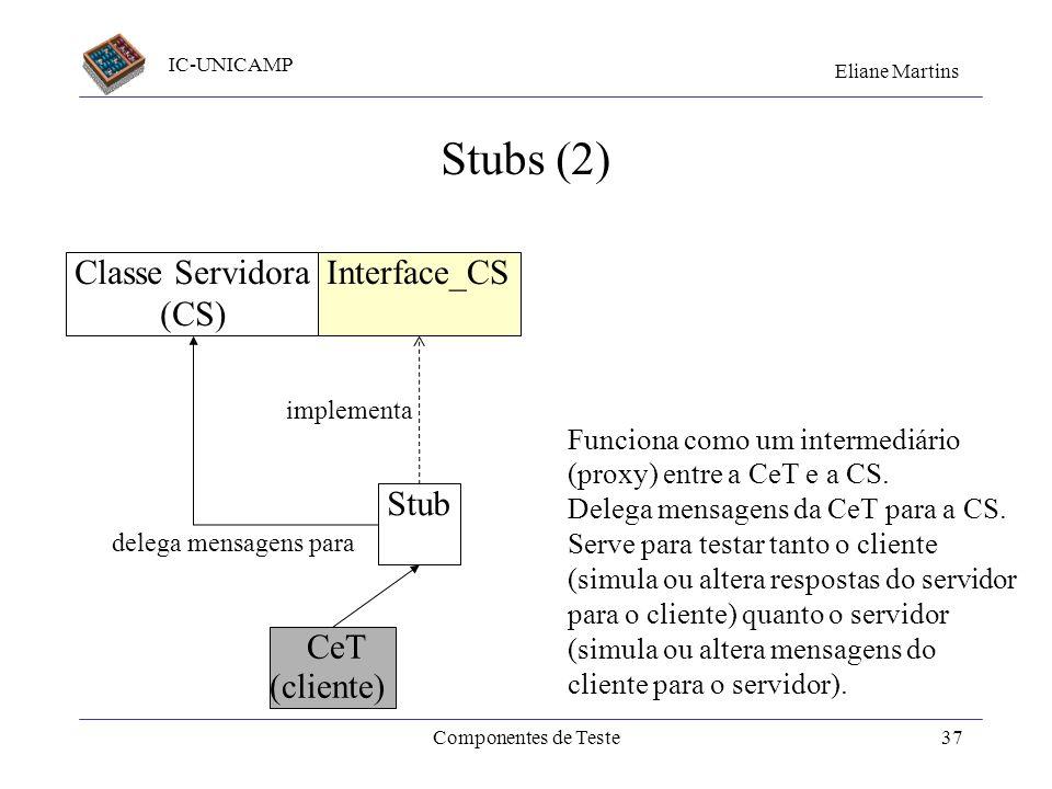 IC-UNICAMP Eliane Martins Componentes de Teste36 Stubs (1) Stub implementa Classe Servidora (CS) Interface_CS Retorna sem executar nada; Retorna valor