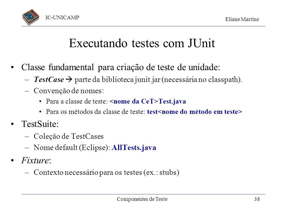 IC-UNICAMP Eliane Martins Componentes de Teste37 Stubs (2) Stub implementa delega mensagens para Funciona como um intermediário (proxy) entre a CeT e