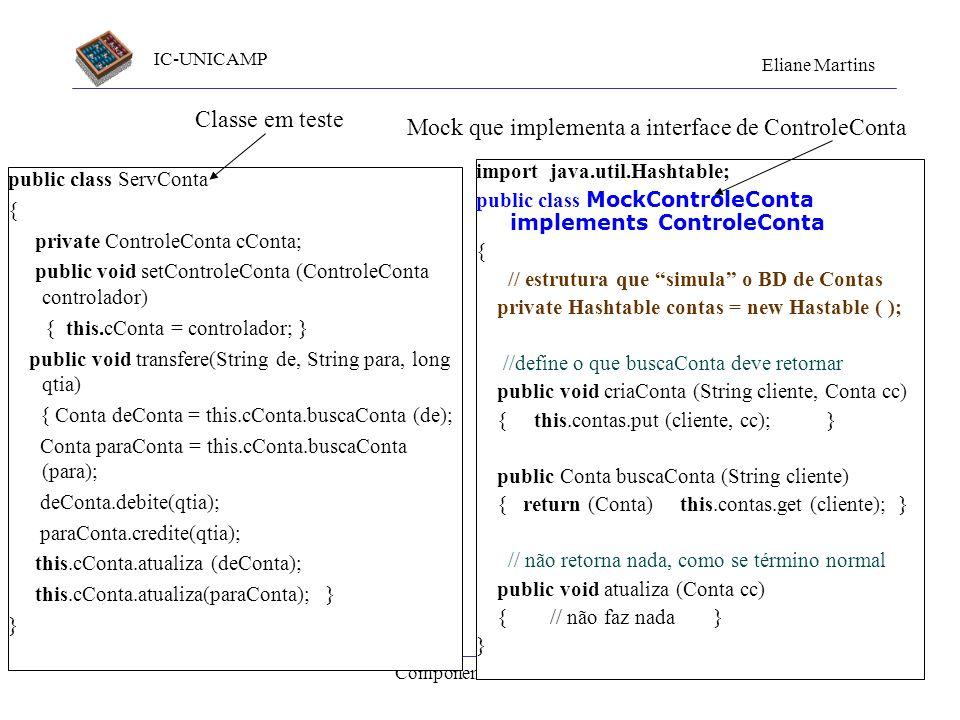 IC-UNICAMP Eliane Martins Componentes de Teste43 Mais um exemplo ServConta... transfere ( ) ControleConta... buscaConta (id) atualiza ( ) Conta debite