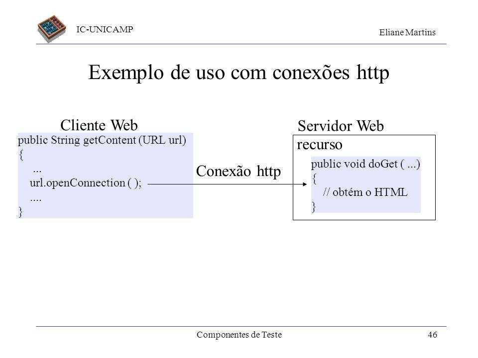 IC-UNICAMP Eliane Martins Componentes de Teste45 Prepara Aplica o teste import junit.framewrok.TestCase; public class TestServConta extends TestCase {