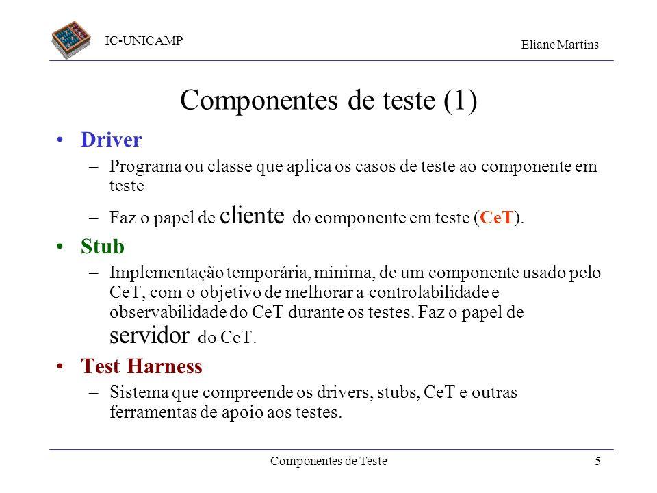 IC-UNICAMP Eliane Martins Componentes de Teste4 Setembro/2001Qualidade_V&V4 Mais referências Vincent Massol e Ted Husted. Junit in Action, cap7. Manni