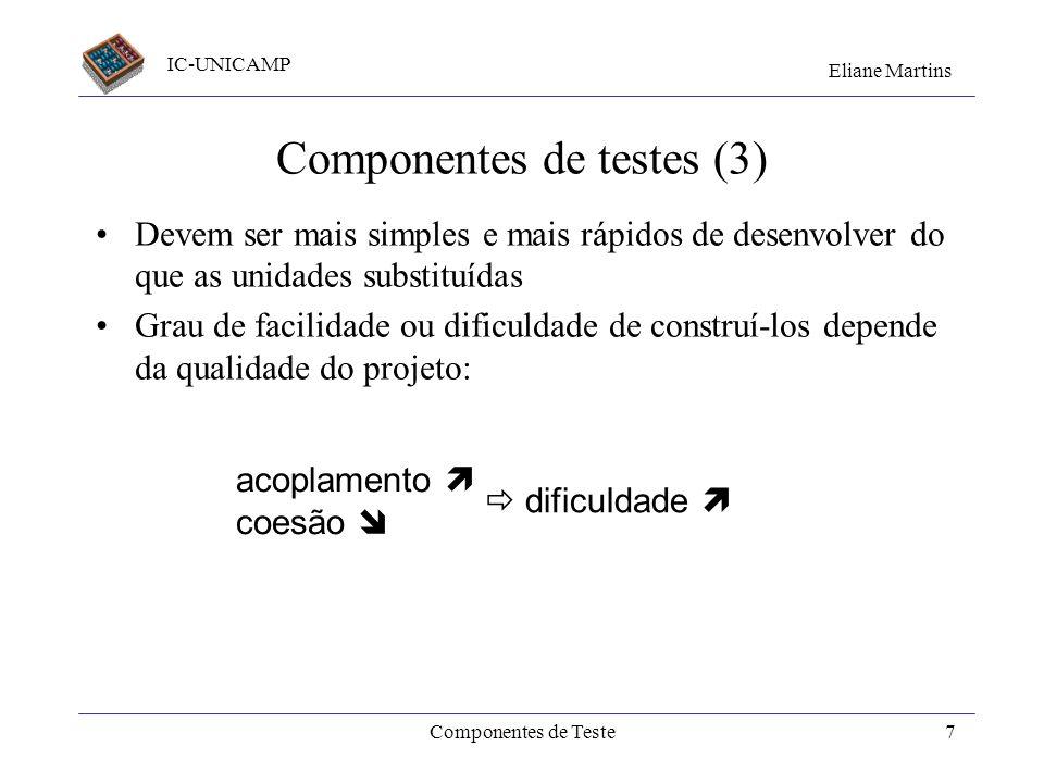 IC-UNICAMP Eliane Martins Componentes de Teste6 Componentes de testes (2) Cliente Implementação Servidor 1 Servidor 2 Servidor 3 Casos de teste Driver