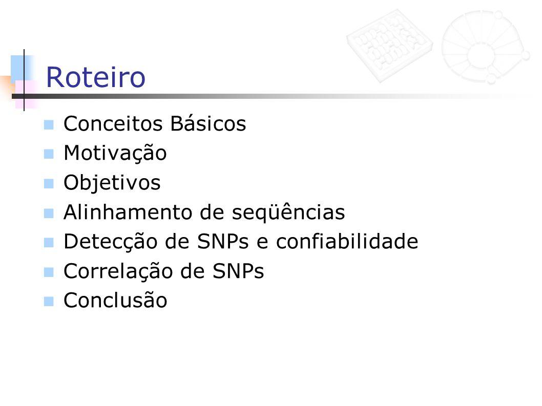 Roteiro Conceitos Básicos Motivação Objetivos Alinhamento de seqüências Detecção de SNPs e confiabilidade Correlação de SNPs Conclusão
