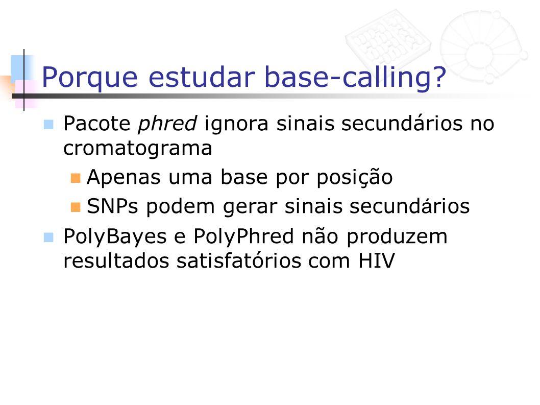 Porque estudar base-calling? Pacote phred ignora sinais secundários no cromatograma Apenas uma base por posição SNPs podem gerar sinais secund á rios