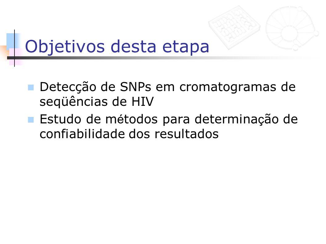 Objetivos desta etapa Detecção de SNPs em cromatogramas de seqüências de HIV Estudo de m é todos para determina ç ão de confiabilidade dos resultados