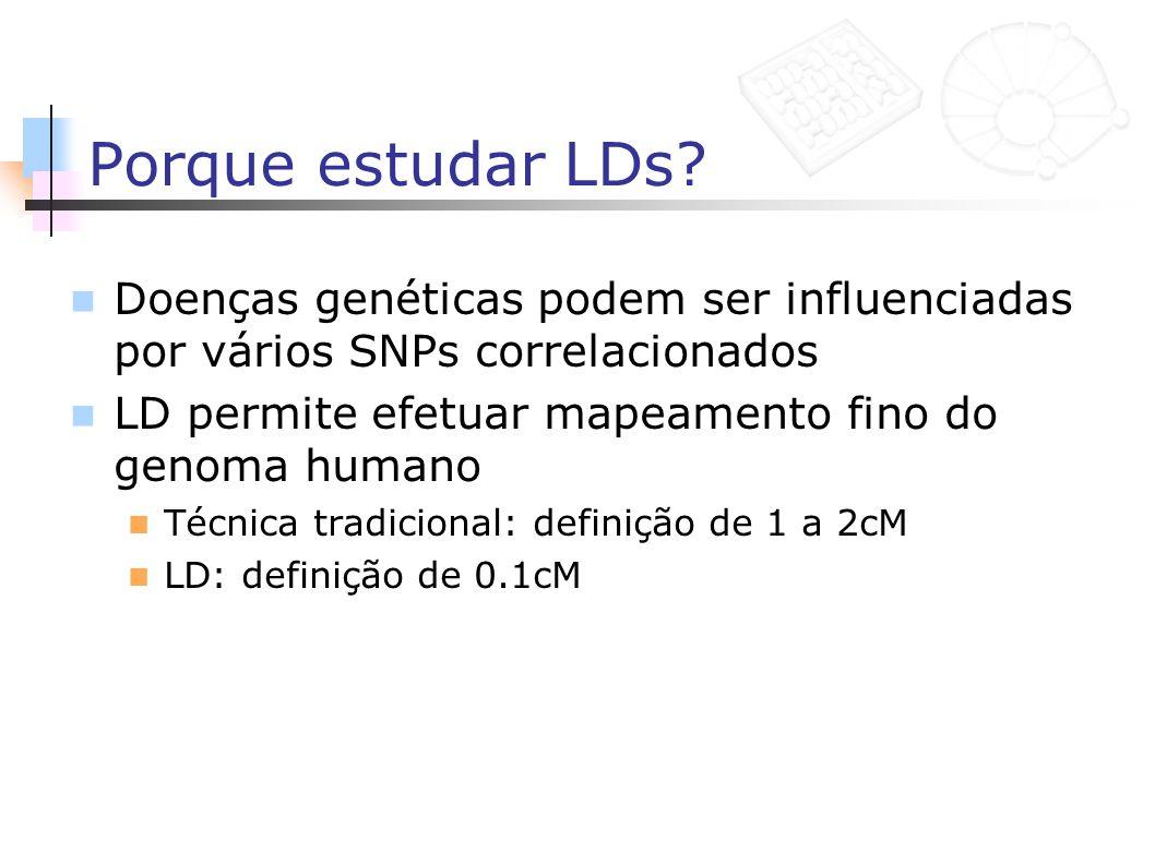 Porque estudar LDs? Doenças genéticas podem ser influenciadas por vários SNPs correlacionados LD permite efetuar mapeamento fino do genoma humano Técn
