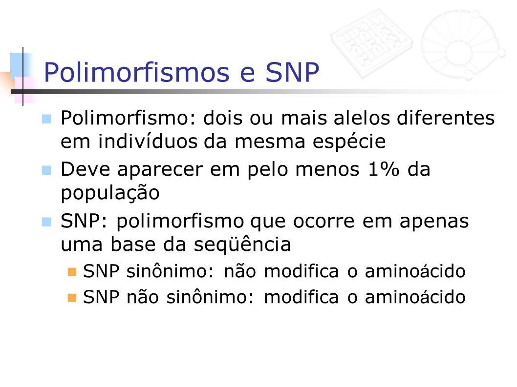 Polimorfismos e SNP Polimorfismo: dois ou mais alelos diferentes em indivíduos da mesma espécie Deve aparecer em pelo menos 1% da população SNP: polim
