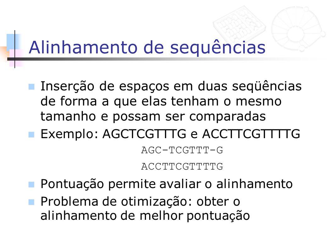 Alinhamento de sequências Inserção de espaços em duas seqüências de forma a que elas tenham o mesmo tamanho e possam ser comparadas Exemplo: AGCTCGTTT