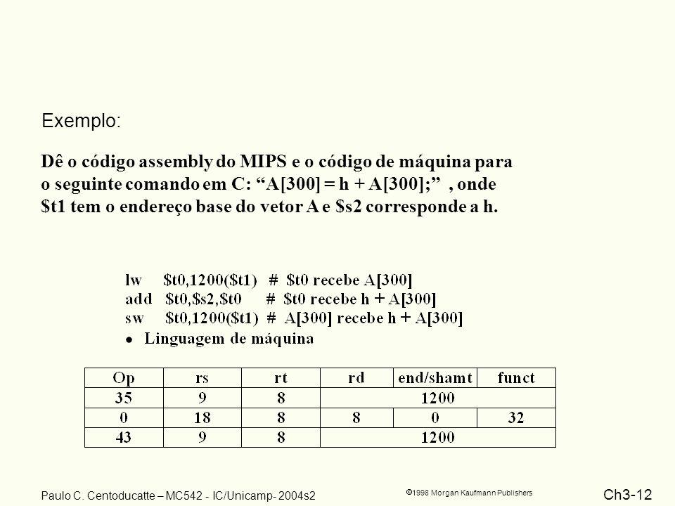 Ch3-12 1998 Morgan Kaufmann Publishers Paulo C. Centoducatte – MC542 - IC/Unicamp- 2004s2 Dê o código assembly do MIPS e o código de máquina para o se