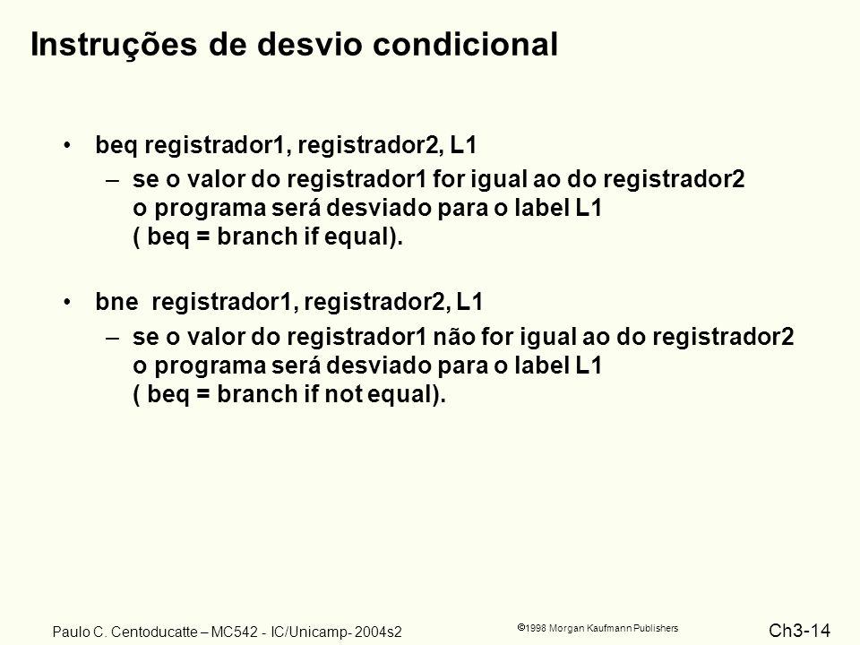 Ch3-14 1998 Morgan Kaufmann Publishers Paulo C. Centoducatte – MC542 - IC/Unicamp- 2004s2 Instruções de desvio condicional beq registrador1, registrad