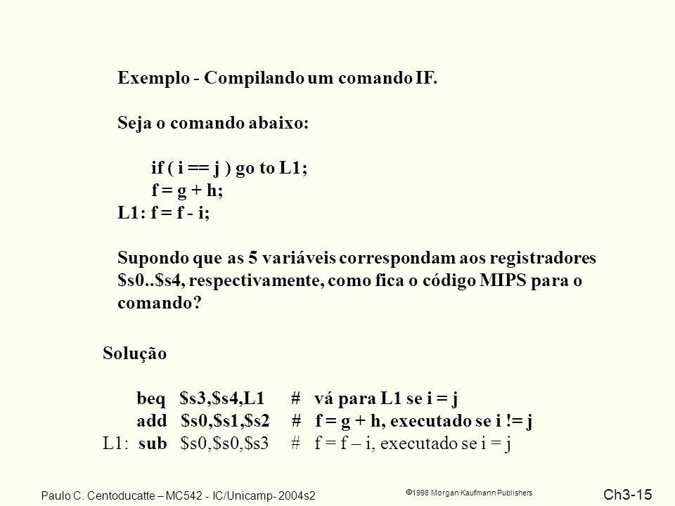 Ch3-15 1998 Morgan Kaufmann Publishers Paulo C. Centoducatte – MC542 - IC/Unicamp- 2004s2 Exemplo - Compilando um comando IF. Seja o comando abaixo: i