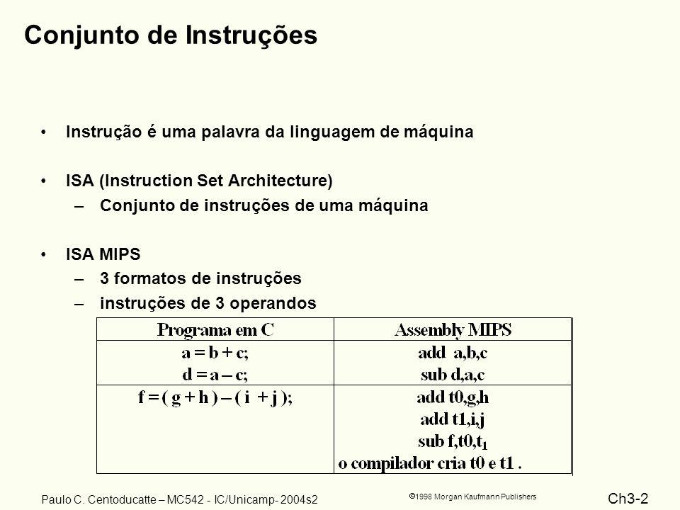Ch3-2 1998 Morgan Kaufmann Publishers Paulo C. Centoducatte – MC542 - IC/Unicamp- 2004s2 Conjunto de Instruções Instrução é uma palavra da linguagem d